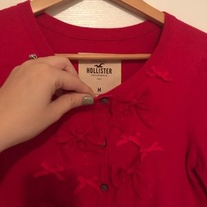 Hollister Hot Pink Red Bow Cropped Cardigan M